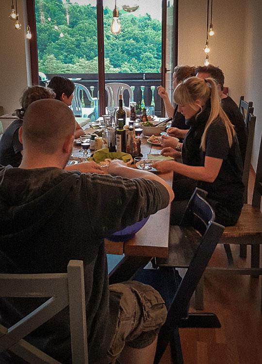 Mountainbike- und Outdoor-Sport-Unterkunft Harz-BnB Werkmeister - Gruppe Abendessen